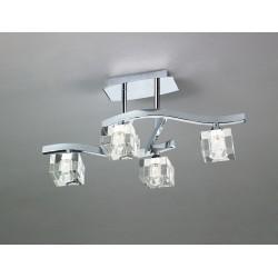 Semi Plafoniera CUADRAX CHROME OPTICAL GLASS 0967 Mantra