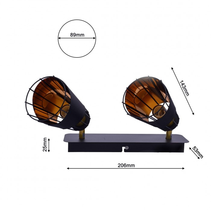 Lustra Plafon RICK Milagro Modern, E14, Negru, ML5566, Polonia