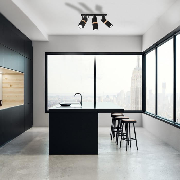 Lustra Plafon VIDAR BLACK Milagro Modern, GU10, Negru, MLP5402, Polonia
