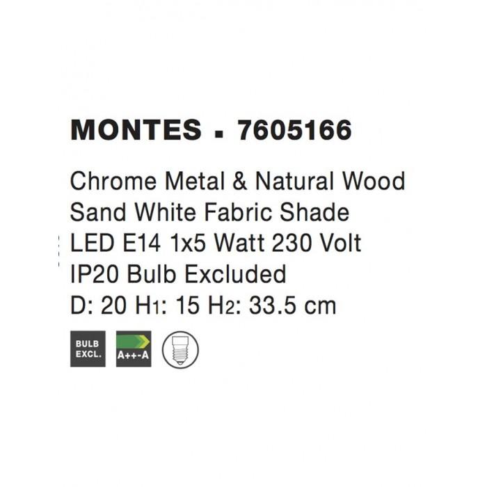 Veioza MONTES Nova Luce Modern, E14, 7605166, Grecia