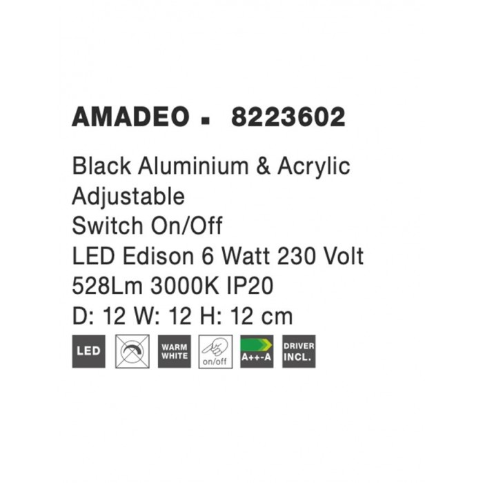 Aplica AMADEO Nova Luce Modern, Led, 8223602, Grecia