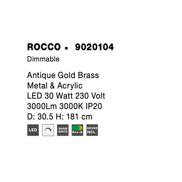 Lampadar Tehnic ROCCO Nova Luce Modern, Led, 9020104, Grecia