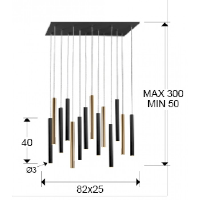 Suspensie VARAS Schuller Led, Auriu|Negru Mat 373425G Spania