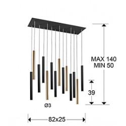 Suspensie VARAS Schuller Led, Auriu|Negru Mat 373425D Spania